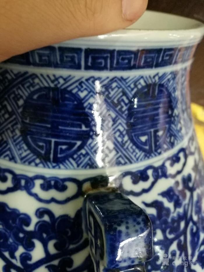 清代   青花缠支纹团纹尊图6