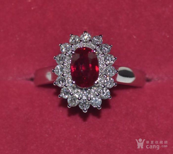 中检证书 0.992克拉天然鸽血红红宝石18K白金伴钻石戒指图1