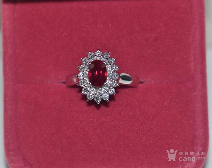 中检证书 0.992克拉天然鸽血红红宝石18K白金伴钻石戒指图10