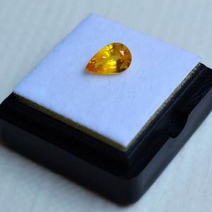 纯黄色蓝宝石 斯里兰卡纯天然水滴型1.06克拉蓝宝石