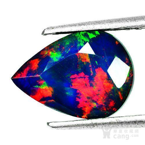 黑欧泊石 纯天然无任何处理欧珀 2.80克拉梨型 极靓七彩图1