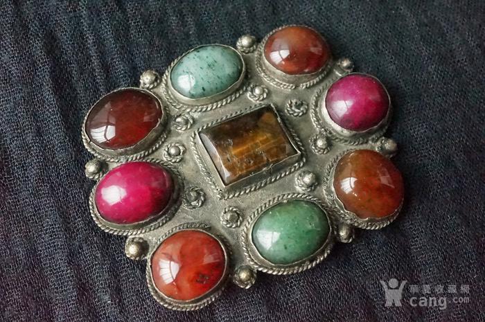 欧洲古董多宝镶嵌大胸针图1
