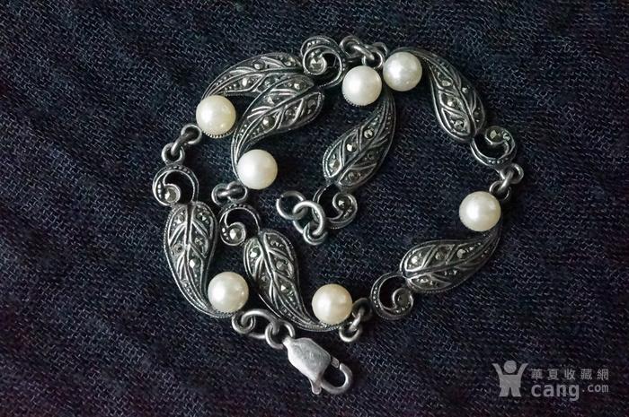 欧美纯银925镶嵌珍珠手链特价图1