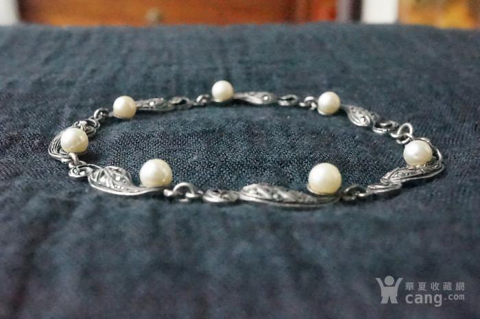 欧美纯银925镶嵌珍珠手链特价图4