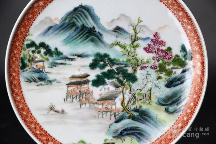 民国精品粉彩山水风景纹挂盘