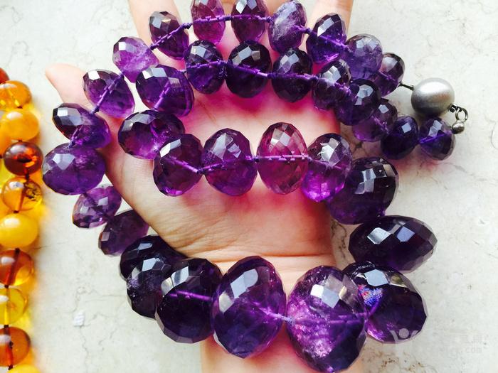欧洲回流超大珠刻面紫水晶项链图5
