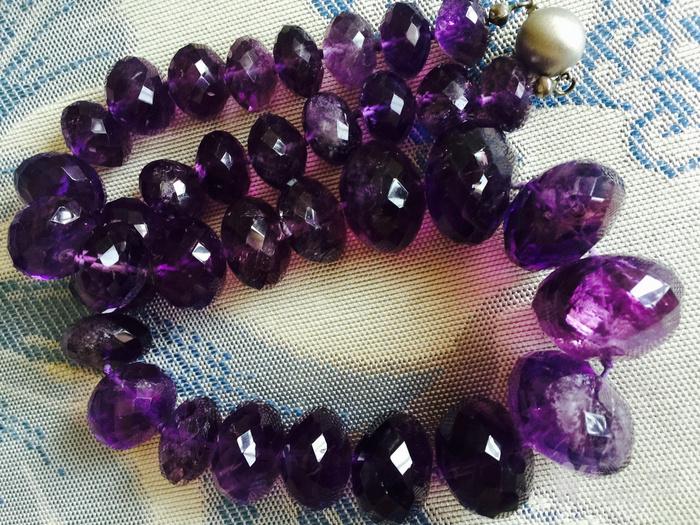 欧洲回流超大珠刻面紫水晶项链图9