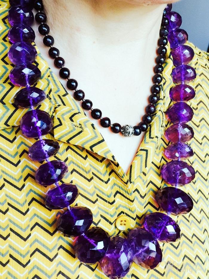 欧洲回流超大珠刻面紫水晶项链图4
