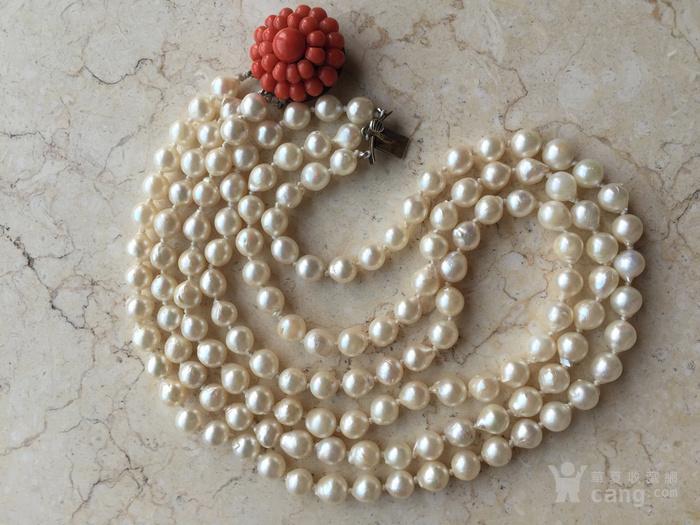 欧洲回流 巴洛克 珍珠 珊瑚 大扣子 三排项链图2
