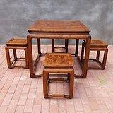 清代黄花梨鬼脸纹一桌四凳老家具明清家具黄花梨家具