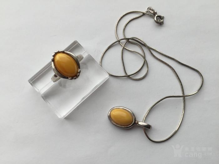 O5788 波罗地海天然蜜蜡银项链 戒指一套图7