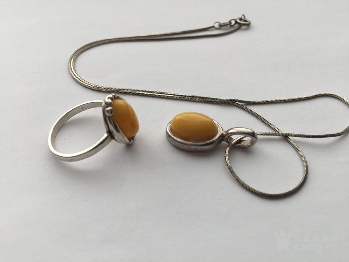 O5788 波罗地海天然蜜蜡银项链 戒指一套图1