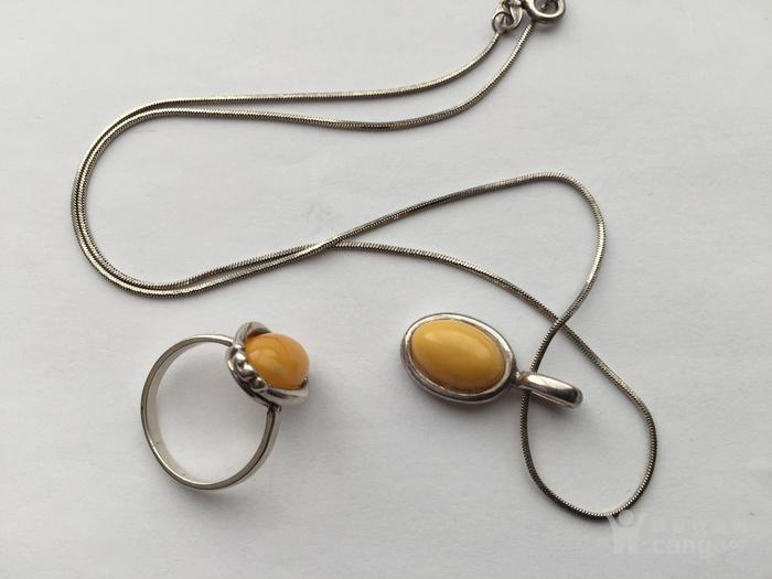 O5788 波罗地海天然蜜蜡银项链 戒指一套图2