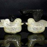 宏乐珠宝天然和田玉鸳鸯玉盒薄胎首饰盒胭脂盒盖盒