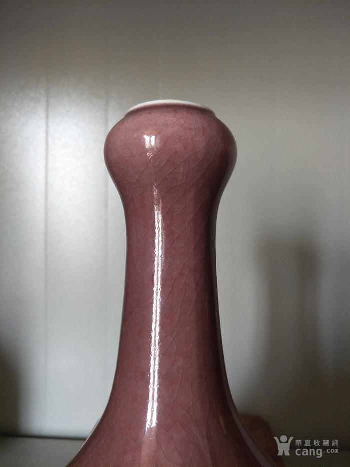 乾隆官窑豇豆红釉蒜头瓶图2