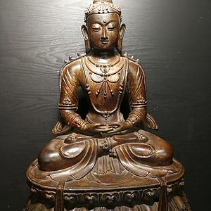 清代   黄铜漆金圣母莲台佛像