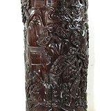 宏乐珠宝天然紫檀木大笔筒松林访友满雕手工27斤