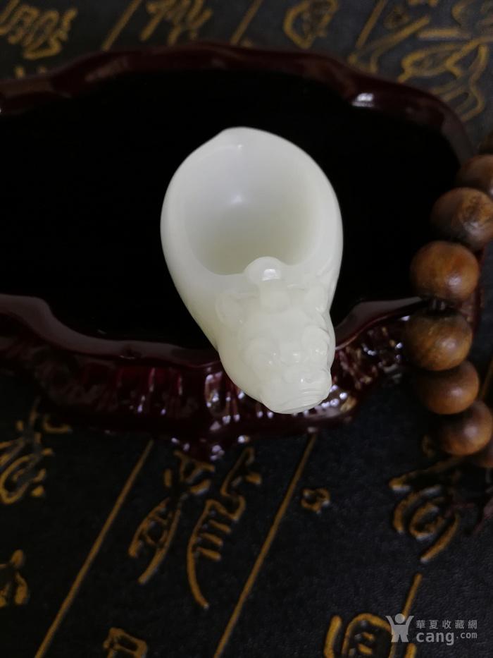新品包邮新疆和田玉羊脂白玉籽料 龙龟祥杯 苏工工艺图6