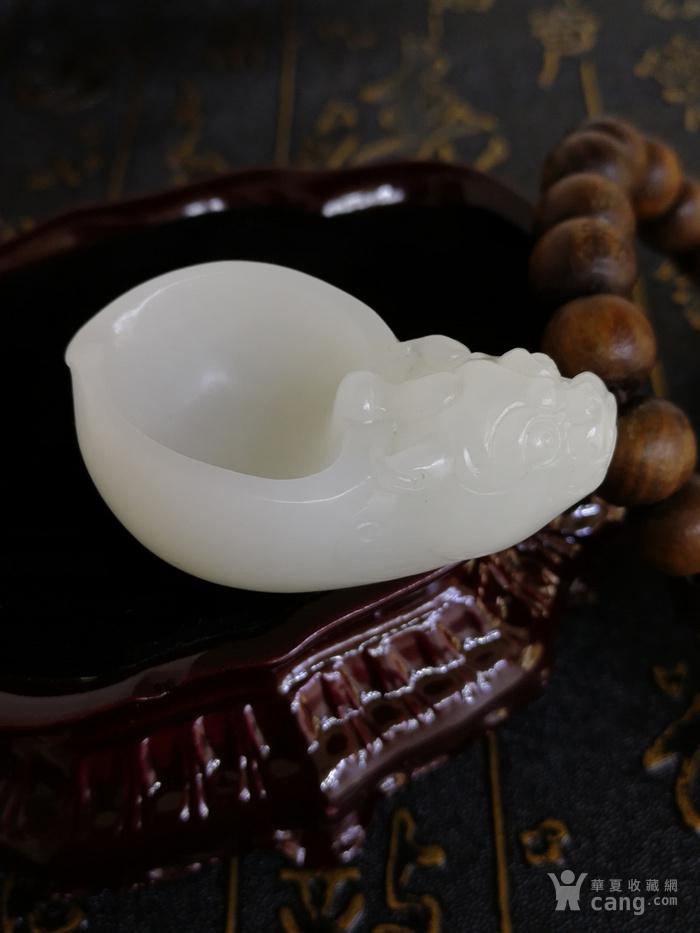 新品包邮新疆和田玉羊脂白玉籽料 龙龟祥杯 苏工工艺图2