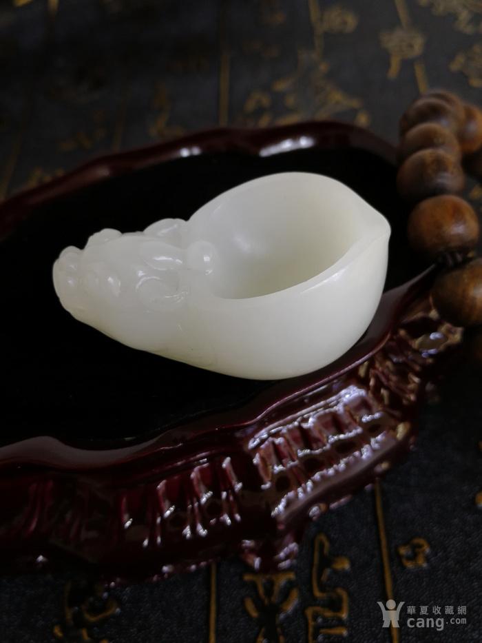 新品包邮新疆和田玉羊脂白玉籽料 龙龟祥杯 苏工工艺图3