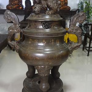 清代错金银人物纹超大铜熏炉