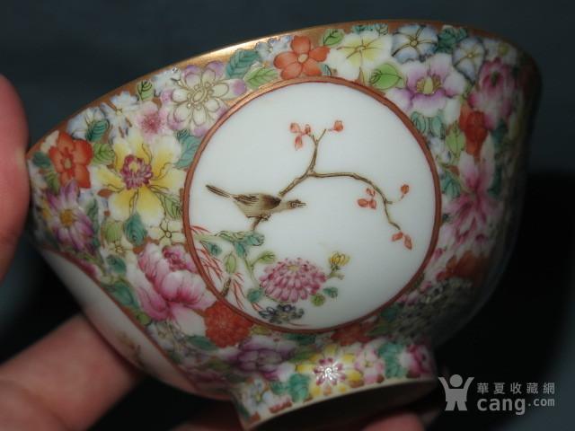 清代粉彩花鸟盖碗 一对 图7