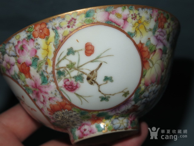 清代粉彩花鸟盖碗 一对 图8