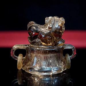 老水晶香炉 炉顶的小狮子非常漂亮