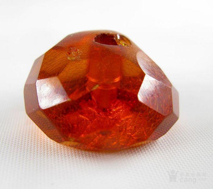 德国古董珠宝 刻面老琥珀珠子 刻面扁珠 满是冰裂纹 6.3克图3