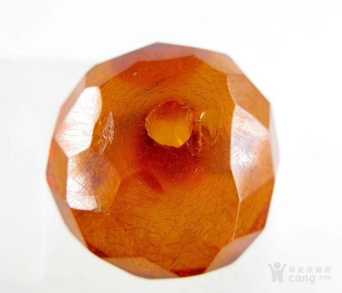 德国古董珠宝 刻面老琥珀珠子 刻面扁珠 满是冰裂纹 6.3克图1