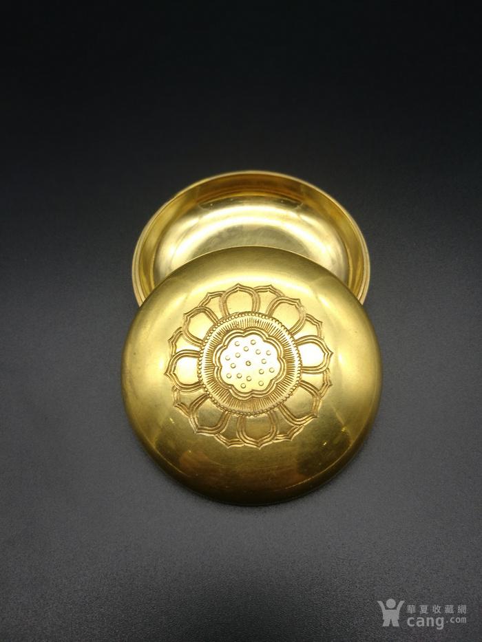 清铜鎏金莲花香盒图1