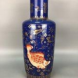 洒蓝釉矾红描金棒槌瓶