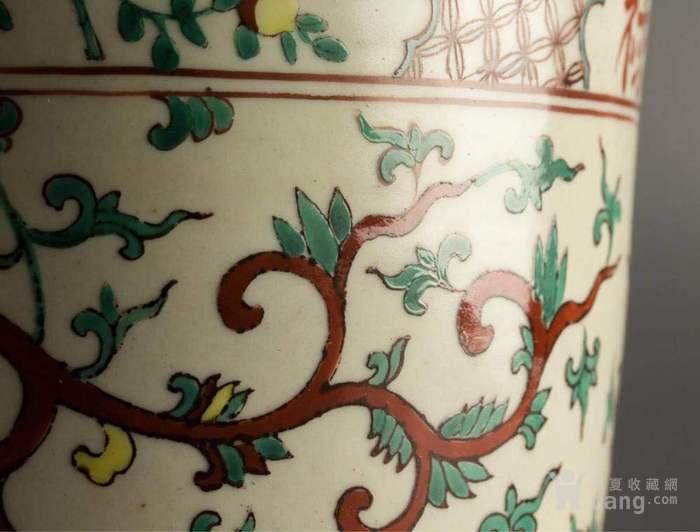 明代隆庆官窑红绿彩福禄寿三足夔龙纹鼎式炉图5