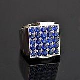 皇家蓝蓝宝石男戒 天然斯里兰卡皇家蓝蓝宝石18K金戒指
