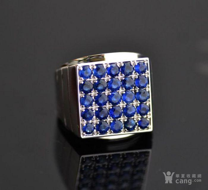 皇家蓝蓝宝石男戒 天然斯里兰卡皇家蓝蓝宝石18K金戒指图1