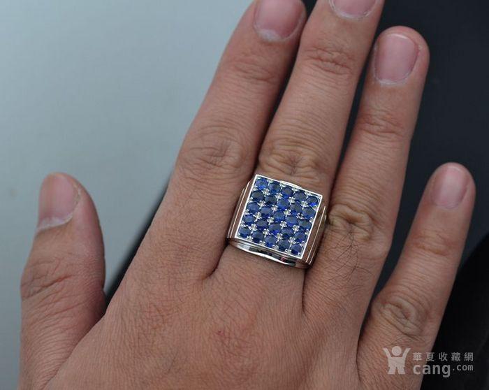 皇家蓝蓝宝石男戒 天然斯里兰卡皇家蓝蓝宝石18K金戒指图2