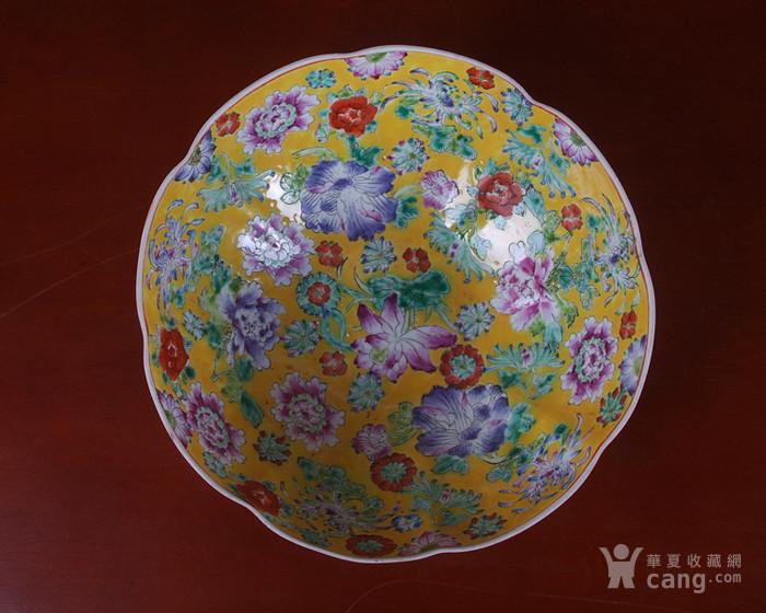 全手工彩绘黄地万花薄胎套碗 10个图3