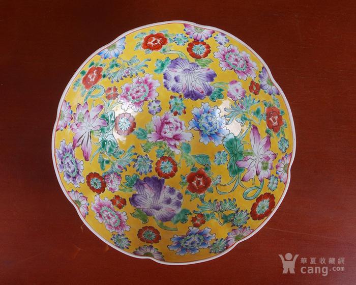 全手工彩绘黄地万花薄胎套碗 10个图5