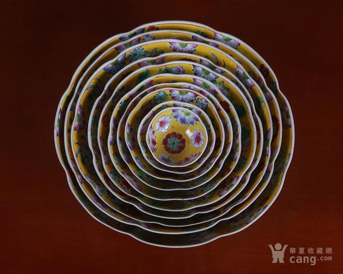 全手工彩绘黄地万花薄胎套碗 10个图12