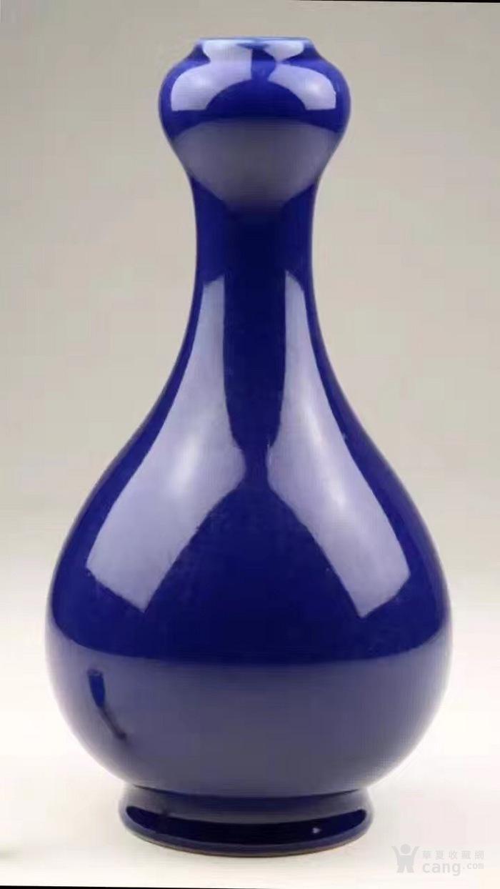 清光绪官窑霁蓝釉蒜头赏瓶图3