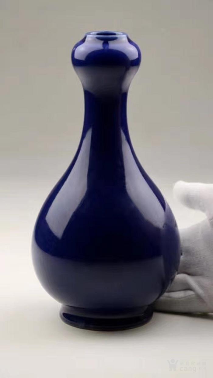 清光绪官窑霁蓝釉蒜头赏瓶图2