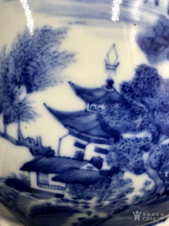 清乾隆精品青花山水大灯笼瓶图5