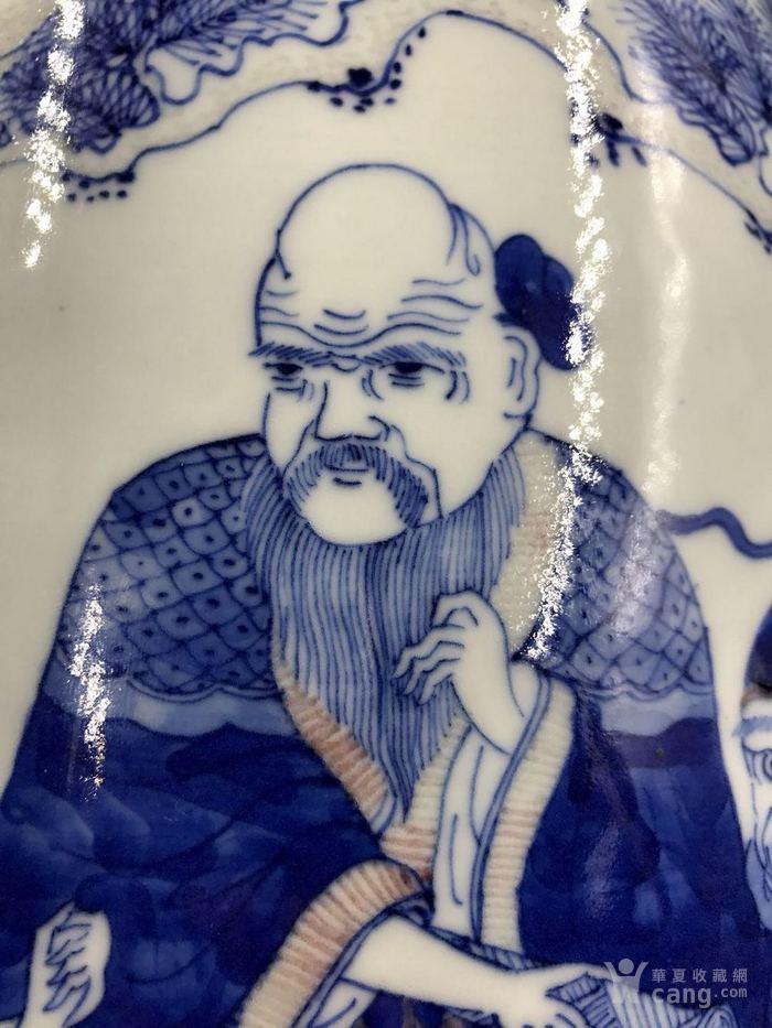 清雍正青花釉里红老子出关盘口琵琶图8