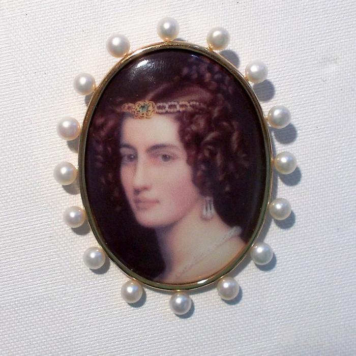 14K 日本 AKOYA 珍珠 画珐琅微型 胸针不议价。图3