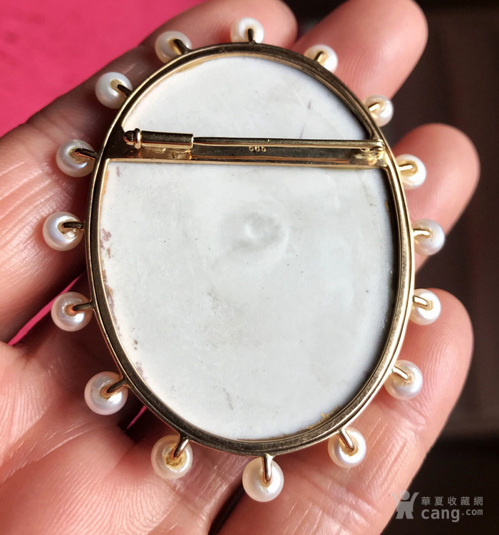 14K 日本 AKOYA 珍珠 画珐琅微型 胸针不议价。图5