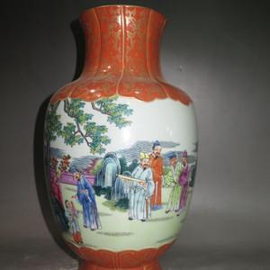 矾红秞人物观音瓶