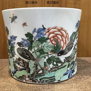 康熙五彩花鸟笔筒