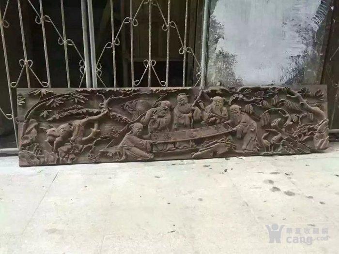 清代木雕人物五老观图图1