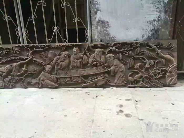 清代木雕人物五老观图图3