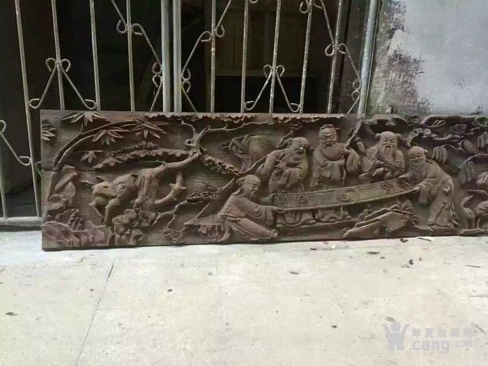 清代木雕人物五老观图图2